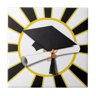 Grad Cap & Diploma w/School Colors Black and Gold Ceramic Tile