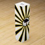 Grad Cap & Diploma w/ School Colors Black and Gold Wine Bottle Boxes