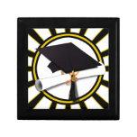 Grad Cap & Diploma w/ School Colors Black and Gold Jewelry Box