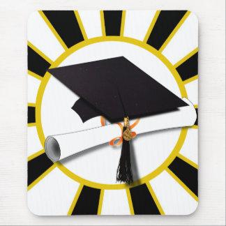 Grad Cap & Diploma w/School Colors Black and Gold Mouse Pad