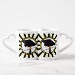 Grad Cap & Diploma w/ School Colors Black and Gold Couple Mugs