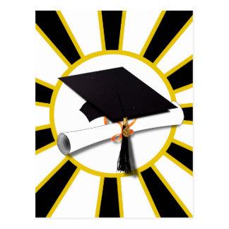 Grad Cap & Diploma w/School Colors Black and Gold Postcard