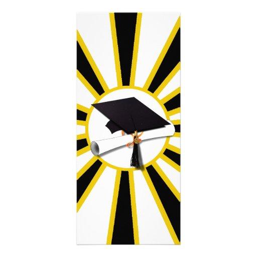 Grad Cap & Diploma w/ School Colors Black and Gold Full Color Rack Card