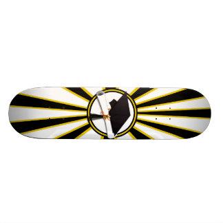 Grad Cap & Diploma w/School Colors Black and Gold Skate Boards