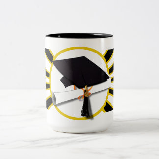 Grad Cap & Diploma w/School Colors Black and Gold Two-Tone Coffee Mug
