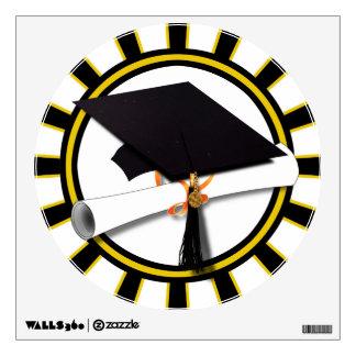 Grad Cap & Diploma w/ School Colors Black and Gold Wall Skins