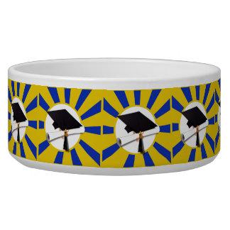 Grad Cap & Diploma w/ School Colors Blue and Gold Bowl