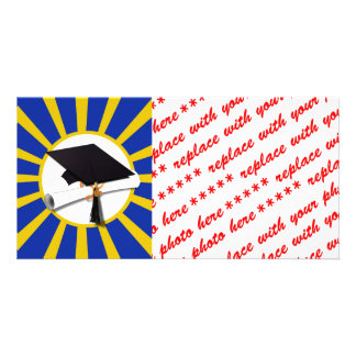 Grad Cap & Diploma w/ School Colors Blue and Gold Card