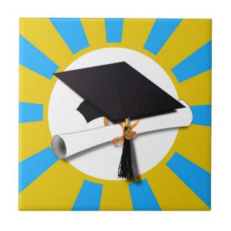 Grad Cap & Diploma w/ School Colors Blue and Gold Ceramic Tile
