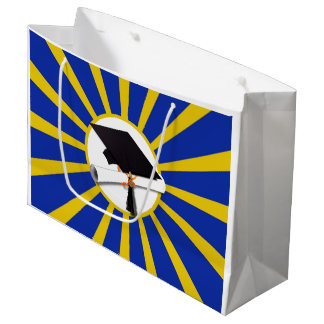 Grad Cap & Diploma w/ School Colors Blue and Gold Large Gift Bag