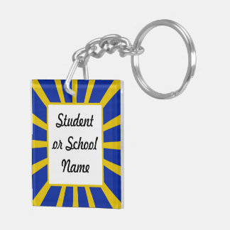 Grad Cap & Diploma w/ School Colors Blue and Gold Double-Sided Square Acrylic Keychain