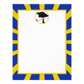 Grad Cap & Diploma w/ School Colors Blue and Gold Letterhead