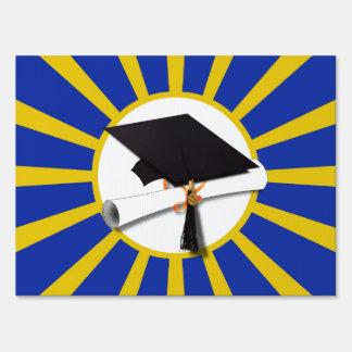 Grad Cap & Diploma w/ School Colors Blue and Gold Sign