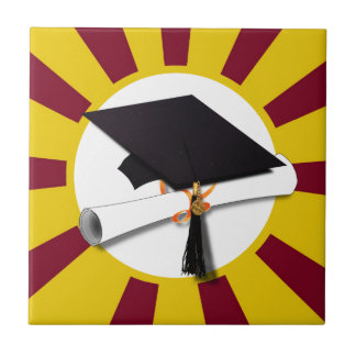 Grad Cap & Diploma w/ School Colors Red and Gold Tile