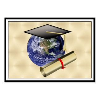 Grad Cap on Earth w/Diploma on Golden Background Large Business Cards (Pack Of 100)