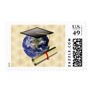 Grad Cap on Earth w/Diploma on Golden Background Postage