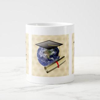 Grad Cap on Earth w/Diploma on Golden Background 20 Oz Large Ceramic Coffee Mug