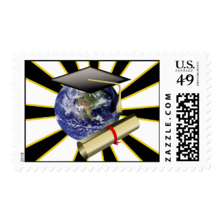 Grad Cap on Earth w/Diploma ~ ZOOMin' ~ Postage