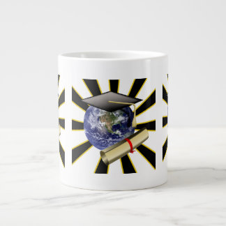 Grad Cap on Earth w/Diploma ~ ZOOMin' ~ 20 Oz Large Ceramic Coffee Mug