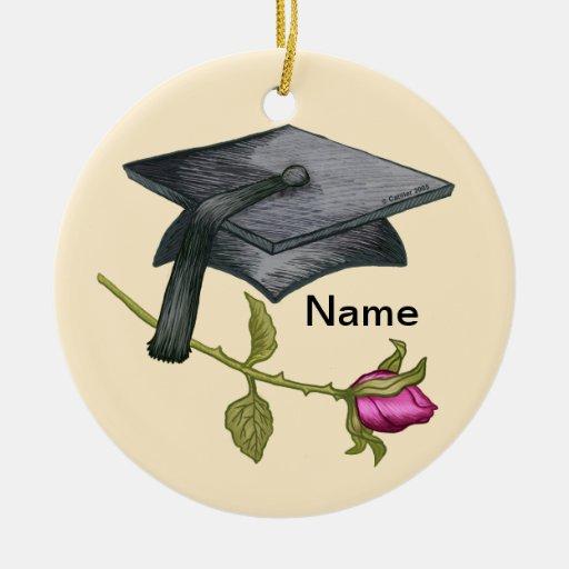 Grad Cap Rose Ornaments