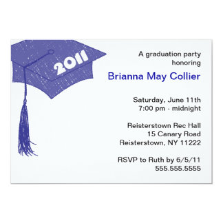 Grad Cap Sketch Blue 2011 invitation