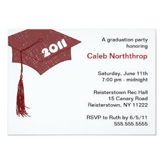 Grad Cap Sketch Brown Red 2011 invitation