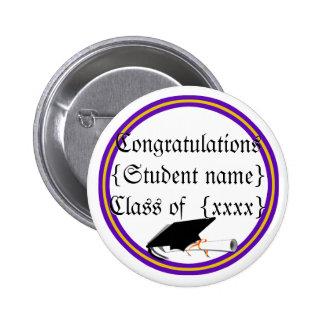 Grad Cap Tilt & Diploma  w/ Colors Purple & Gold Pinback Button