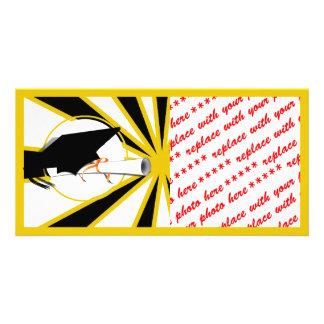 Grad Cap Tilt w/ School Colors Black and Gold Photo Card