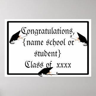 Grad Cap Tilt w/ School Colors Black and Gold Poster