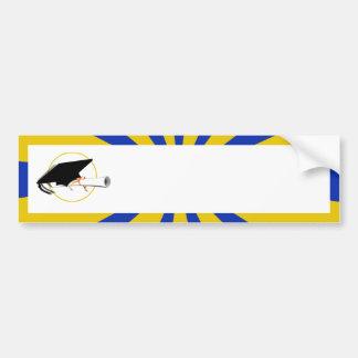 Grad Cap Tilt w/ School Colors Blue And Gold Bumper Sticker