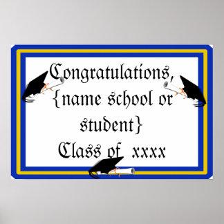 Grad Cap Tilt w/ School Colors Blue And Gold Poster