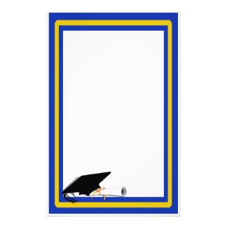 Grad Cap Tilt w School Colors Blue And Gold Custom Stationery
