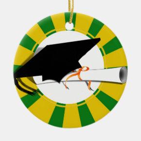 Grad Cap Tilt w/ School Colors Green and Gold Ceramic Ornament