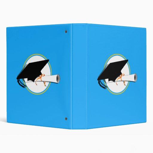 Grad Cap Tilt w/ School Colors Lt Blue And Gold Vinyl Binders