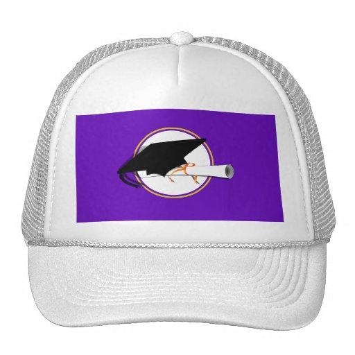 Grad Cap Tilt w/ School Colors Purple And Gold Trucker Hat