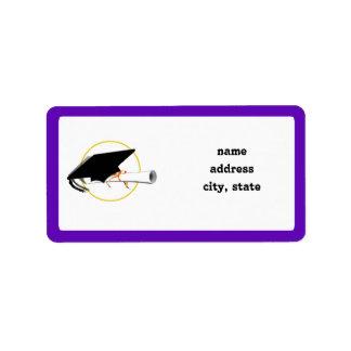 Grad Cap Tilt w/ School Colors Purple And Gold Label