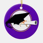 Grad Cap Tilt w/ School Colors Purple And Gold Christmas Ornaments