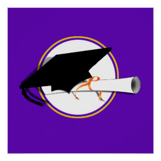 Grad Cap Tilt w/ School Colors Purple And Gold Poster