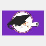 Grad Cap Tilt w/ School Colors Purple And Gold Sticker