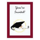 """Grad Cap Tilt w/ School Colors Red And Gold 5"""" X 7"""" Invitation Card"""
