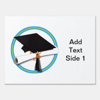 Grad Cap w/ Diploma - Gold & Lt Blue School Colors Sign