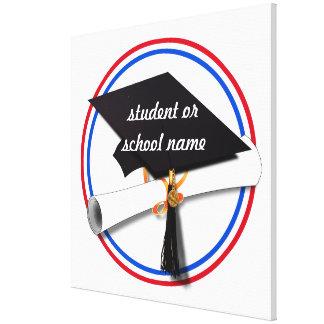 Grad Cap w/Diploma - Red & Blue School Colors Canvas Print