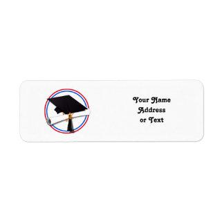 Grad Cap w/Diploma - Red & Blue School Colors Label