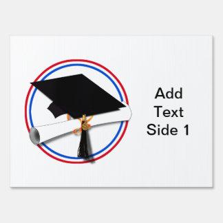 Grad Cap w/Diploma - Red & Blue School Colors Sign