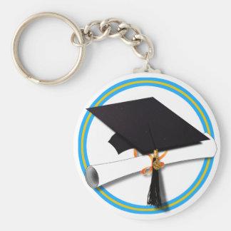 Grad Cap w/Diploma - School Colors Gold & Lt Blue Basic Round Button Keychain