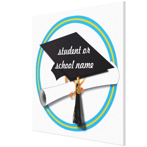Grad Cap w/Diploma - School Colors Gold & Lt Blue Canvas Print