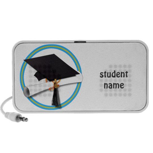 Grad Cap w/Diploma - School Colors Gold & Lt Blue Mini Speaker