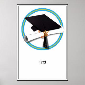 Grad Cap w/Diploma - School Colors Gold & Lt Blue Poster