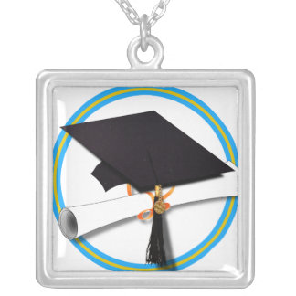 Grad Cap w/Diploma - School Colors Gold & Lt Blue Silver Plated Necklace