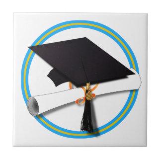 Grad Cap w/Diploma - School Colors Gold & Lt Blue Tile